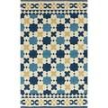 Hand-hooked Moroccan Sapphire Blue Indoor/Outdoor Rug (3'3 x 5'3)