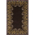 Smithsonian Hand-tufted Lily border Brown Floral Border Wool Rug (2' x 3')