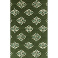 Hand-hooked Stencil Spruce Green Indoor/Outdoor Rug (2' x 3')