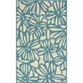 Hand-hooked Blue Jay Flowers Blue Indoor/Outdoor Rug (3'3 x 5'3)