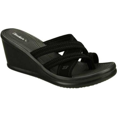 Women's Skechers Rumblers Beautiful People Black Wedge Sandals
