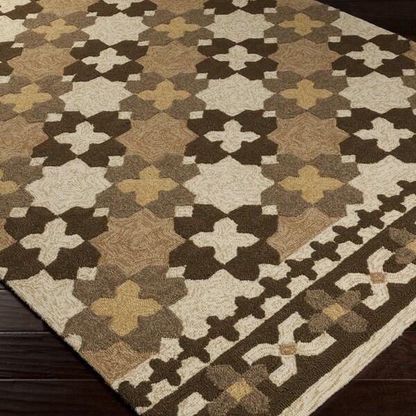 Hand-hooked Moroccan Parsnip Indoor/Outdoor Rug (5' x 7'6)