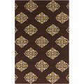 Hand-hooked Stencil Coffee Bean Indoor/Outdoor Rug (8' x 10'6)