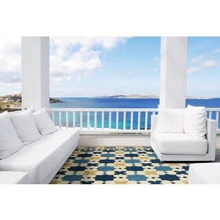 Hand-hooked Blue Moroccan Sapphire Indoor/Outdoor Rug (5' x 7'6)