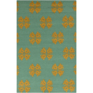 Hand-hooked Teal Stencil Malachite Blue Indoor/Outdoor Rug (2' x 3')