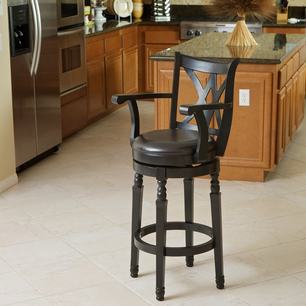 Christopher Knight Home Eclipse Espresso Armed Swivel Barstool