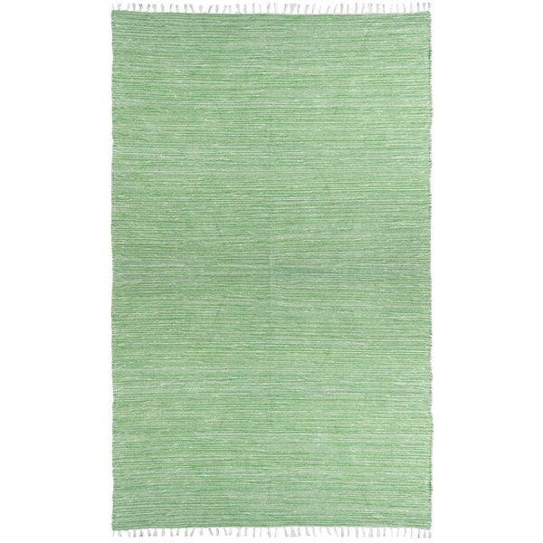 Green Reversible Chenille Flat Weave Rug (5' x 8')