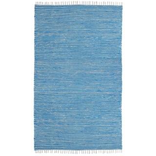 Aqua Reversible Chenille Flat Weave Rug (5' x 8')