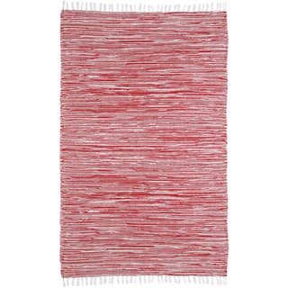 Red Reversible Chenille Flat Weave Rug (4' x 6')