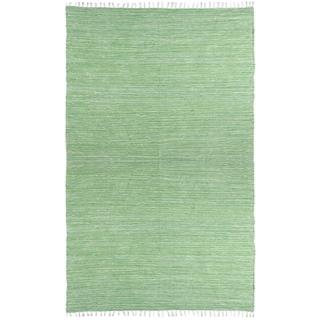 Green Reversible Chenille Flat Weave Rug (4' x 6')