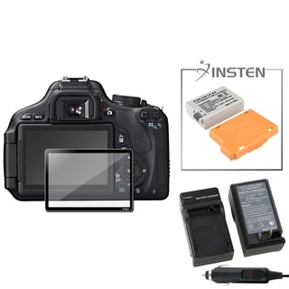 INSTEN Battery/ Charger/ Glass Screen Protector for Canon EOS 600D