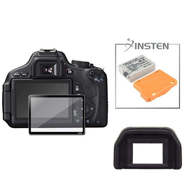 INSTEN Battery/ Eyecup/ Glass Screen Protector for Canon EOS 600D