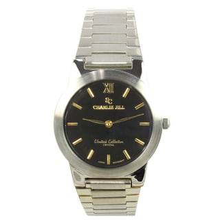 Charlie Jill Men's Black Dial Stainless Steel Watch