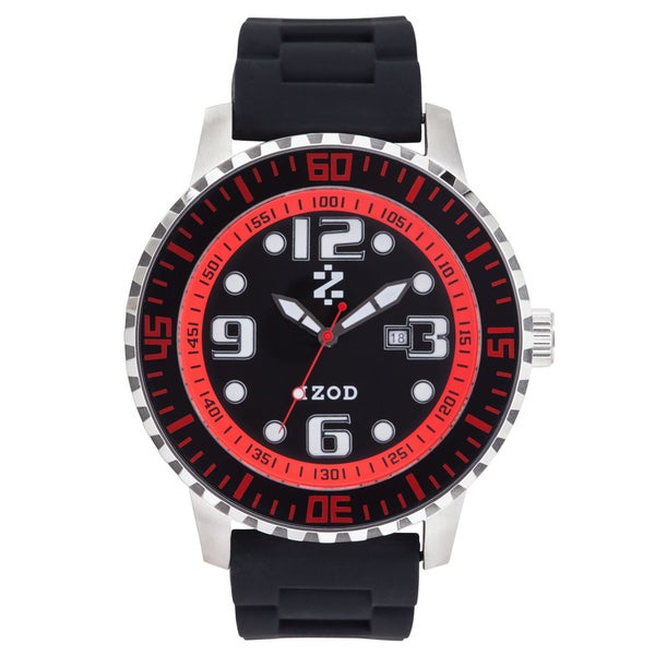 Izod Men's Black/ Red Rubber Rubber Strap Watch
