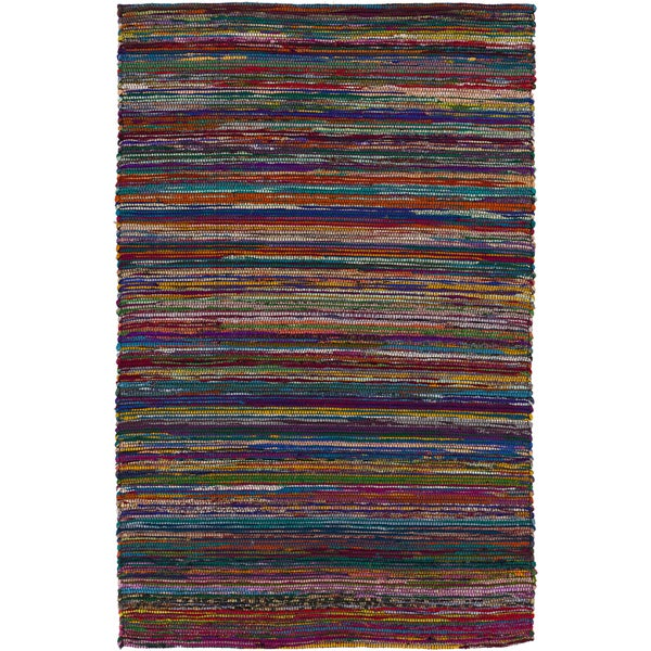 Hand-loomed Casual Multi Colored Stripe Silk Rug (8' x 11')