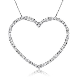 10k White Gold 1ct TDW Diamond Open Heart Necklace (H-I, I1-I2)