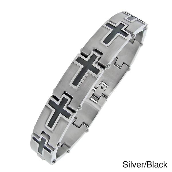 Stainless Steel Men's Plated Cross Link Bracelet