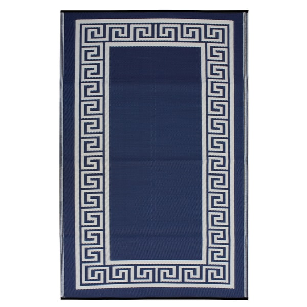 Prater Mills Indoor/ Outdoor Reversible Midnight Blue/ Cream Rug