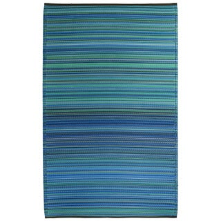 Prater Mills Indoor/ Outdoor Reversible Turquoise/ Green Rug