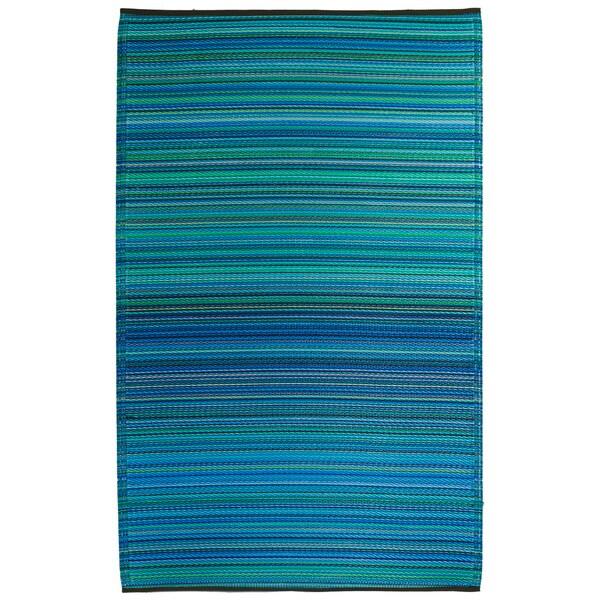Prater Mills Indoor/ Outdoor Reversible Turquoise/ Green Rug