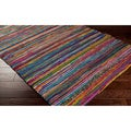 Hand-loomed Casual Multi Colored Stripe Silk Area Rug (5' x 8')