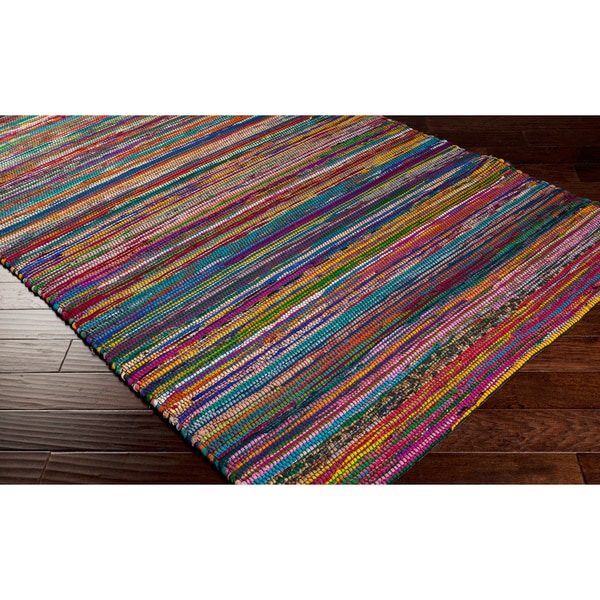 Hand Loomed Casual Multi Colored Stripe Silk Rug 5 X 8