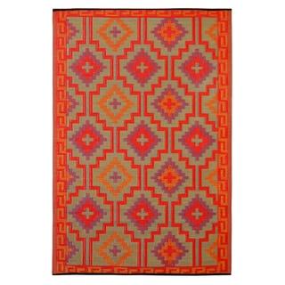 Prater Mills Indoor/ Outdoor Reversible Orange/ Purple Rug
