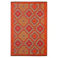 Prater Mills Indoor/ Outdoor Reversible Orange/ Purple Rug