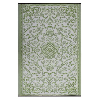 Prater Mills Indoor/ Outdoor Reversible Green/ Cream Rug