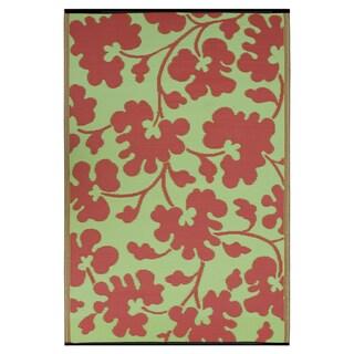 Prater Mills Indoor/Outdoor Reversible Scarlet Red/ Green Rug