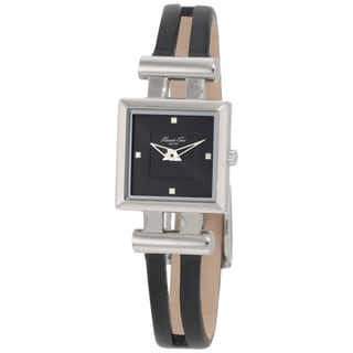 Kenneth Cole Women's Reaction Black Leather and Black Dial Quartz Watch