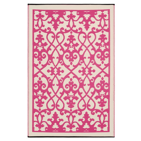 Prater Mills Indoor/ Outdoor Reversible Cream/ Pink Rug