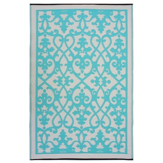 Prater Mills Indoor/ Outdoor Reversible Cream/ Turquiose Rug