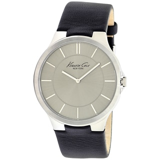 Kenneth Cole Men's Slim Black Leather Strap Grey Dial Watch