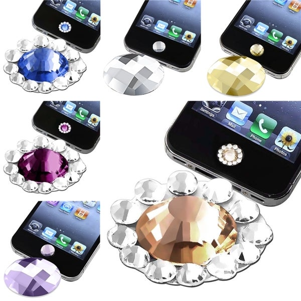 BasAcc Diamond Home Button Sticker for Apple® iPhone 3/ 4 (Pack of 6)