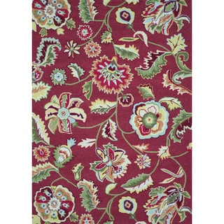 Hand-hooked Marley Red Rug (7'3 x 9'3)