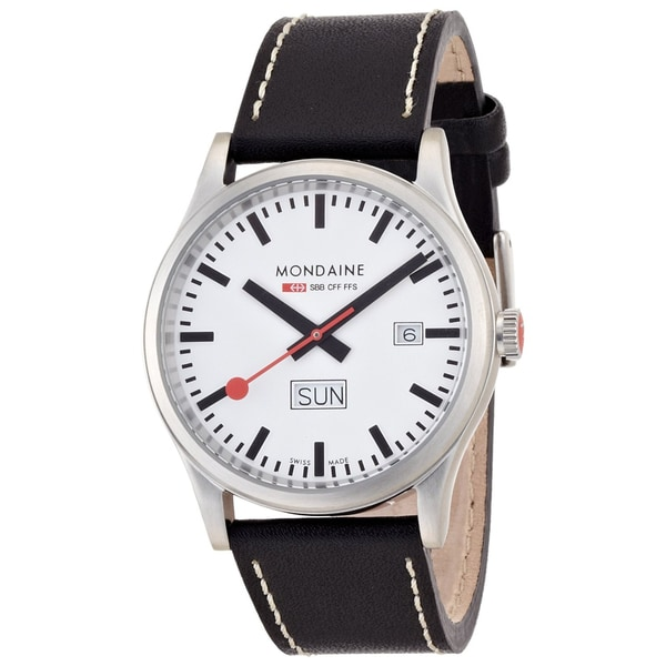 Mondaine Men's Day/ Date Leather Band Watch