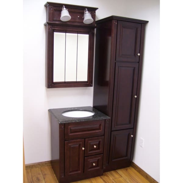 four piece heritage cherry bathroom set 15122625 shopping great deals on. Black Bedroom Furniture Sets. Home Design Ideas