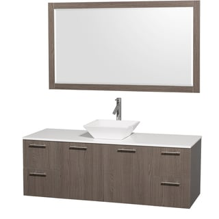 Amare Grey Oak/Man-Made Stone 60-inch Single Vanity and Mirror with Porcelain Sink