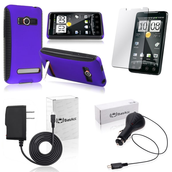 BasAcc Case/ Protector/ Travel Charger/ Car Charger for HTC EVO 4G