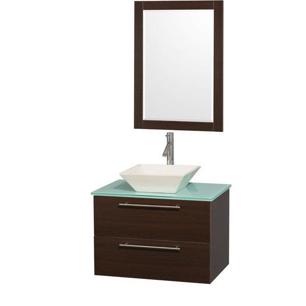 Wyndham Collection Amare Espresso 30-inch Single Bathroom Vanity Set with Bone Porcelain Sink 10642210