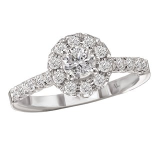 14k White Gold 3/4ct TDW Diamond Halo Engagement Ring (G-H, SI1-SI2)