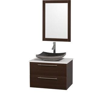 Amare Espresso 30-Inch Single Bathroom Vanity Set With Black Granite Sink