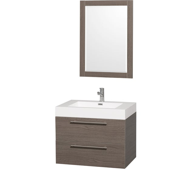 Wyndham Collection Amare Gray Oak 30-inch Single Bathroom Vanity Set With Integrated Sink