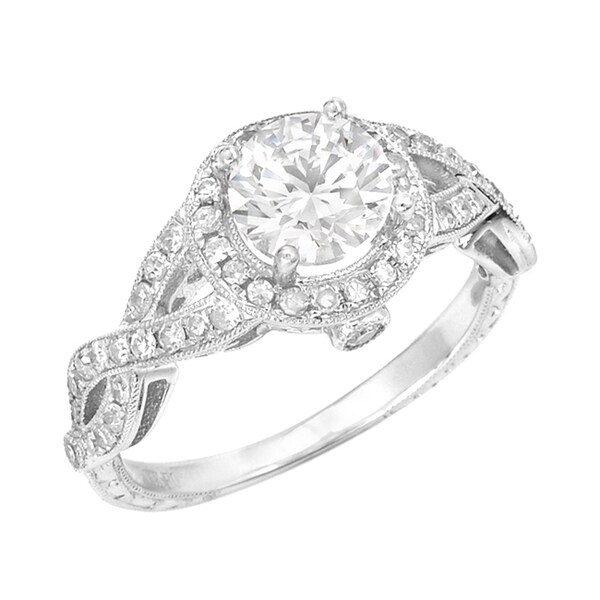 14k White Gold 3/8ct TDW Diamond and CZ Center Ring (G, SI1)