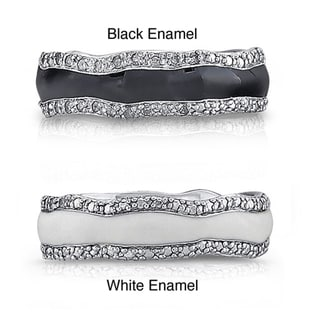 Sterling Silver 1/5ct TDW Diamond Enamel Band