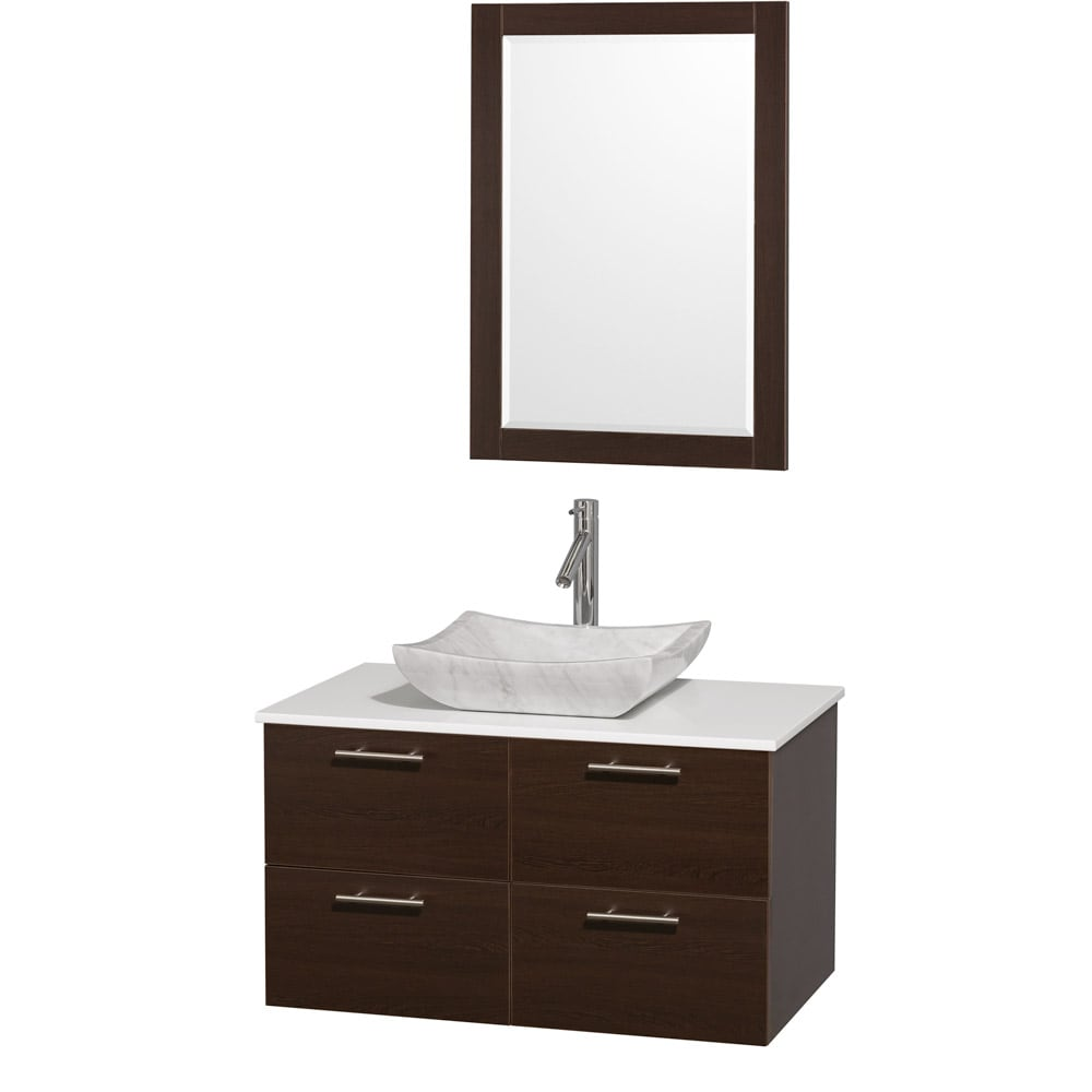 Wyndham Collection Amare Espresso 36-Inch Single Bathroom Vanity Set With White Carrera Marble Sink at Sears.com