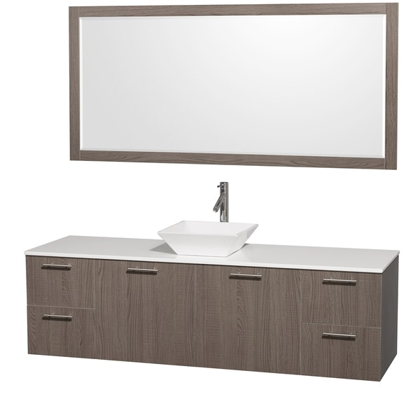 Wyndham collection amare gray oak 72 inch single vanity - 72 inch single sink bathroom vanity ...