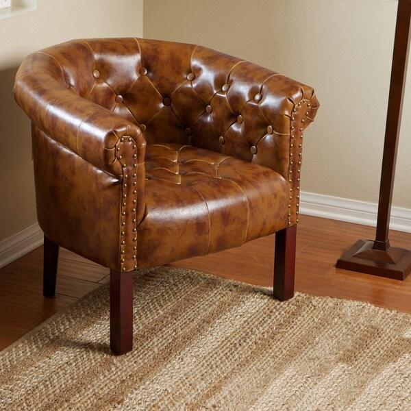 Georgia Brown Leather Tub Club Chair