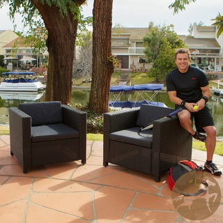 Bahamas Outdoor Club Chair with Black Cushions (Set of 2)